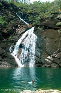 Swimming below Zoe Falls